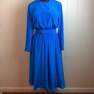 Vintage 70s/80s Blue Liz Claiborne Secretary Dress